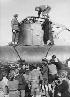 Children inspecting a Japanese midget submarine, 1942