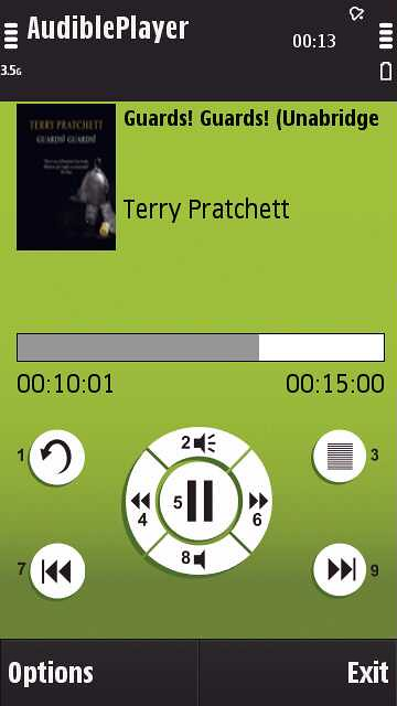 Audible co uk Player on N97 | listening to some Terry Pratch