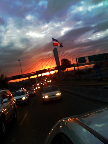 road street morning bridge sun cars puente dawn ramp dominicanrepublic flag patriotic commute commuting expressway patria duarte 27defebrero juanbosch