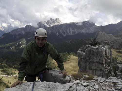 On the top of Torre Lusy - Climbing in Cinque Torri, Dolomiti | by Alberto De Giuli