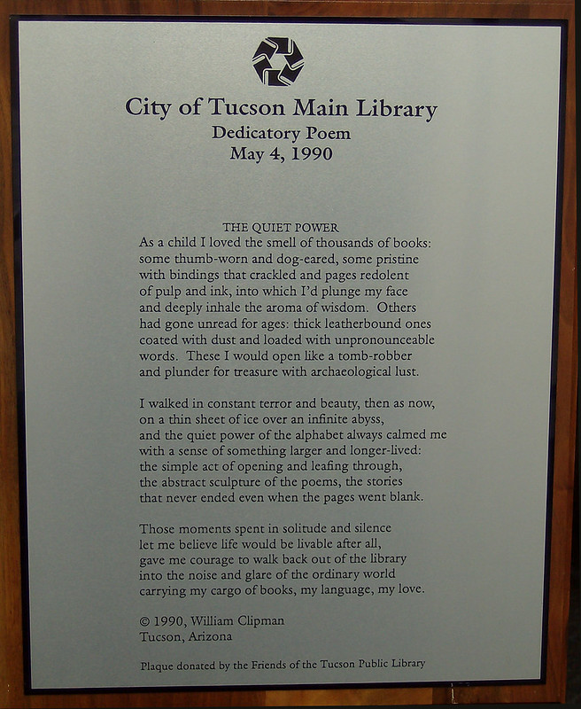 The Quiet Power by William Clipman, Library Dedicatory Poem