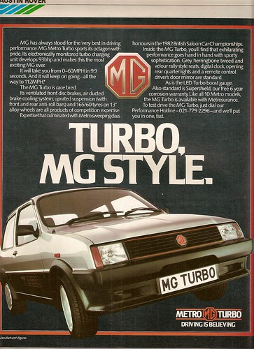 MG Metro Turbo Advert 1983 | by Trigger's Retro Road Tests!