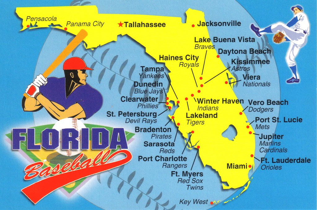 Florida Baseball map postcard - available | Spring training ...