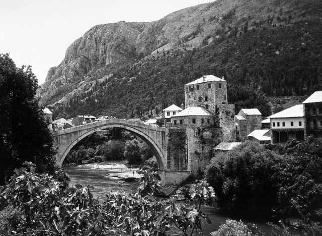 Old Mostar Bridge in black and white
