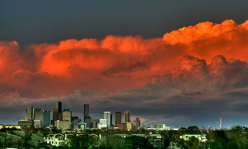 city sunset sky urban usa storm weather skyline architecture clouds buildings downtown cityscape texas skyscrapers houston lightning hdr texasthunderstorms