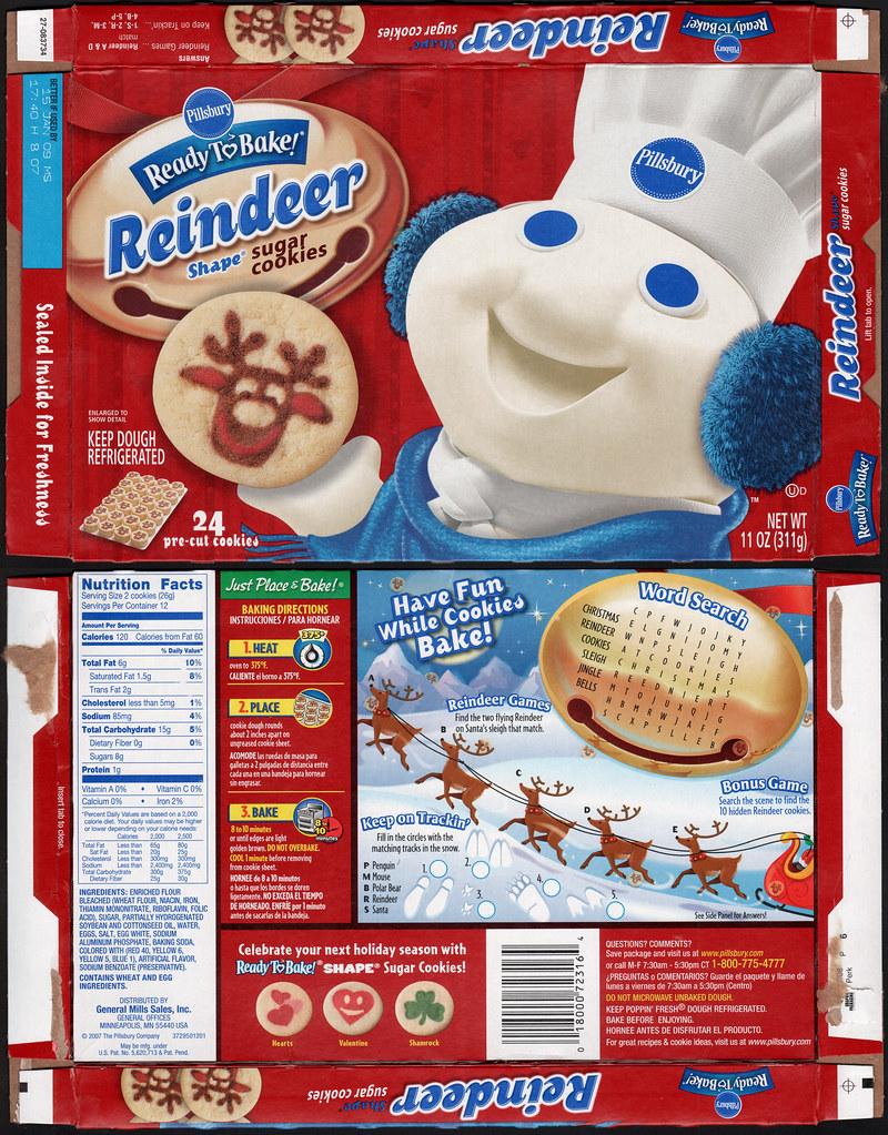 Pillsbury Ready To Bake Reindeer Shape Sugar Cookies Box Flickr
