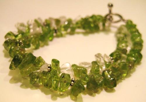peridot & quartz bracelet | by Sleeping cat beads