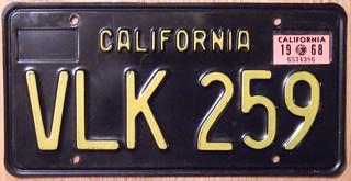 CALIFORNIA 1968 LICENSE PLATE