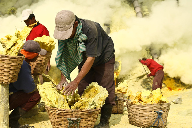 Collecting sulfur from Kawah Ijen