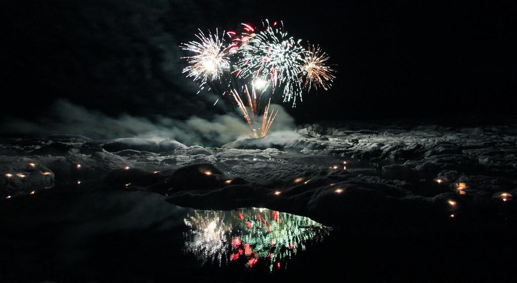 Fireworks over Jökulsárlón by Elsa Prinsessa