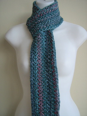 TARA- Cotton Candy Skinny Scarf In Shades of Blue & Pink