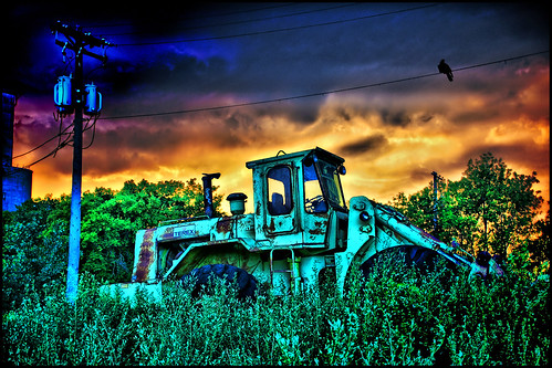 blue red orange tractor storm color rain yellow clouds front end twincities loader hdr dananderson hdraward hdrcreativeshots