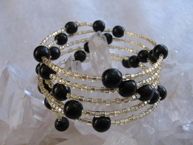 Memory Wire Bracelet - Black Ball 2