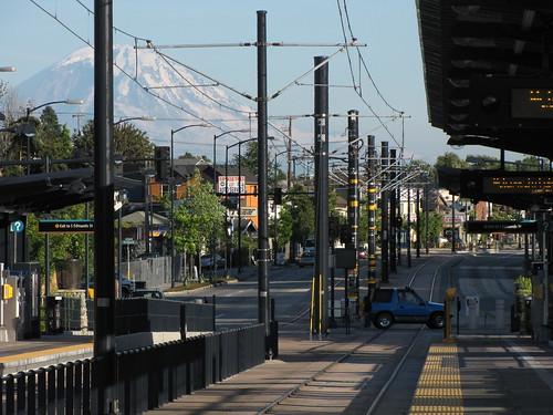 Mount Rainier over Columbia City light rail station