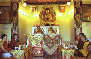 Under Lord Buddha, Sakya Trizin and Dagchen Sakya, Ani Sakya seated across from Zaya Sakya, next to their cousins (Sakya Trizin's sons) Sakya College, and entourage, Rajpur, Uttar Pradesh, India in 1993