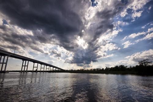 bridge ferry clouds landscape virginia va virginiabeach pungo
