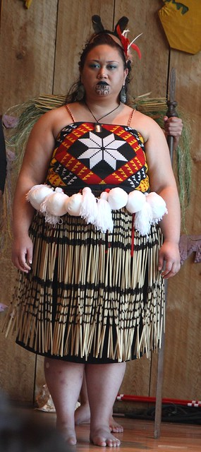 Maori dancer warming up
