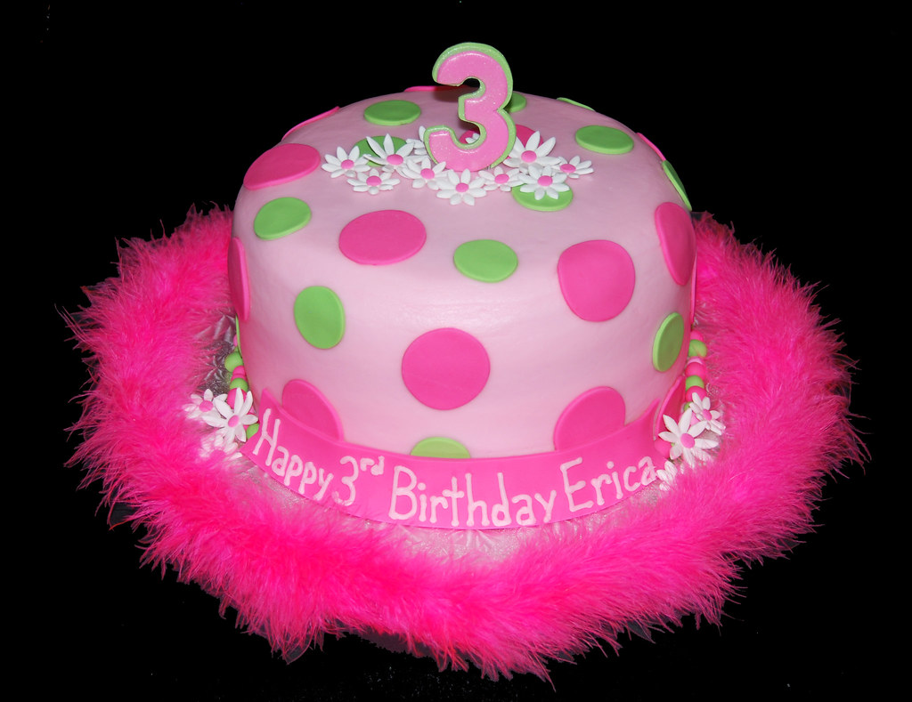 Superb Pink And Green Girly 3Rd Birthday Cake Read More About Our Flickr Funny Birthday Cards Online Overcheapnameinfo