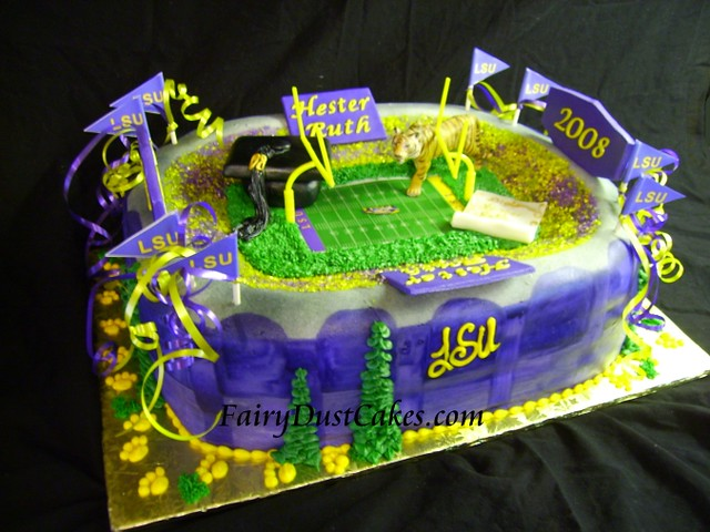 Astonishing Lsu Graduation Stadium Cake This Lsu Stadium Cake Was Made Flickr Personalised Birthday Cards Veneteletsinfo