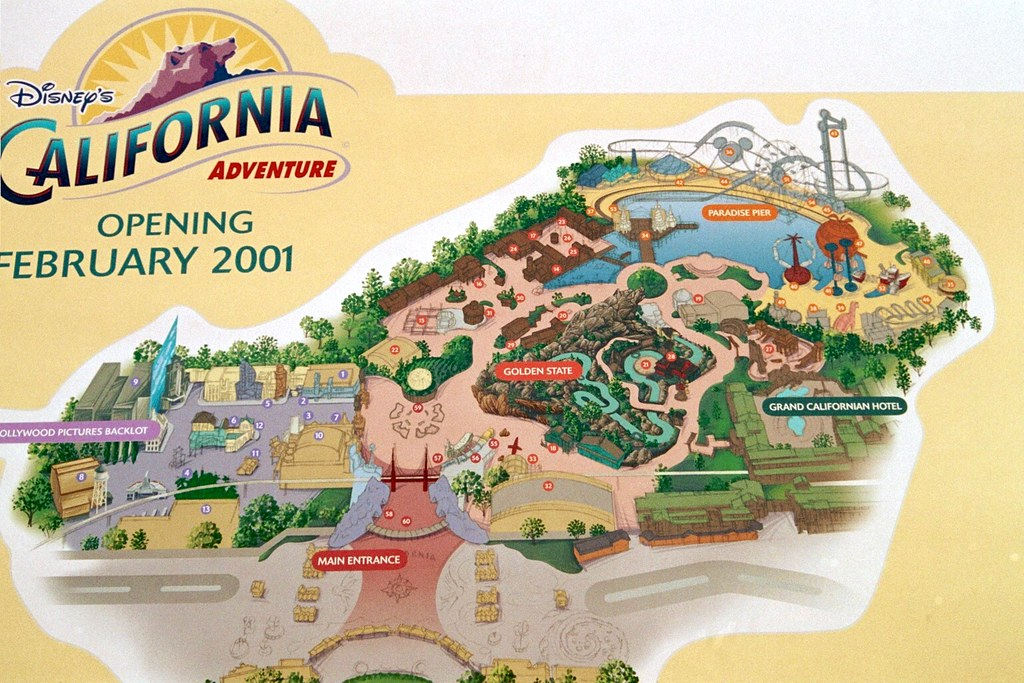 Map Of California Disney.Disney California Adventure Layout Map In 2000 Before Worl Flickr