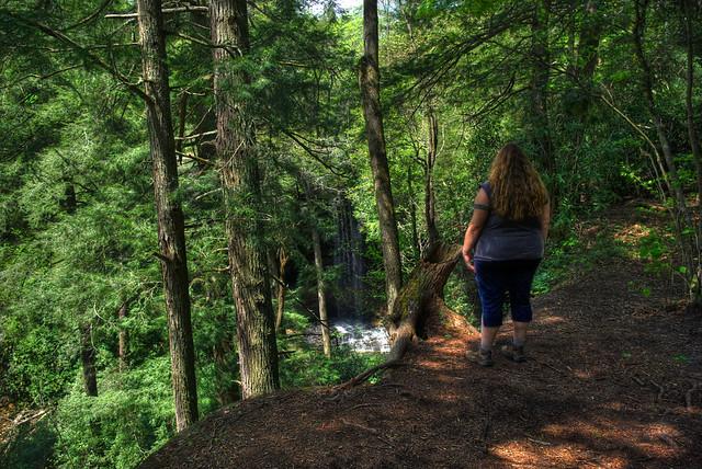 Alexis Lienhart at Northrup Falls Overlook, Colditz Cove SNA, Fentress Co, TN
