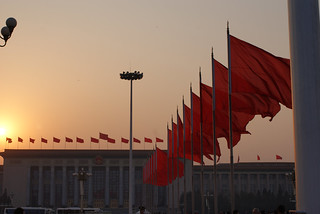 Tiananmen Flags Sunset | by Steve Spezz