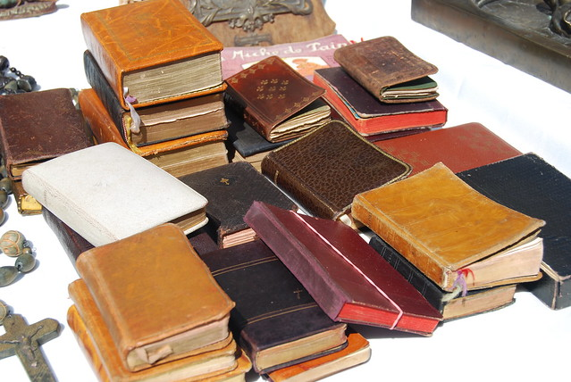 Stacks of old leather bibles
