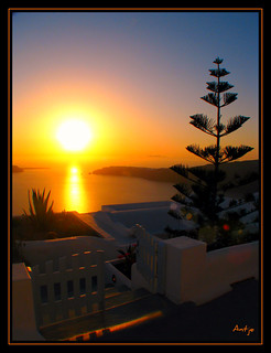 The most beautiful sunsets can be seen on Santorini....