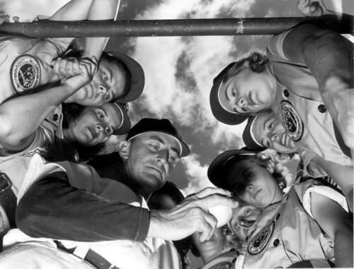 Dick Bass with members of the Fort Wayne Daisies baseball