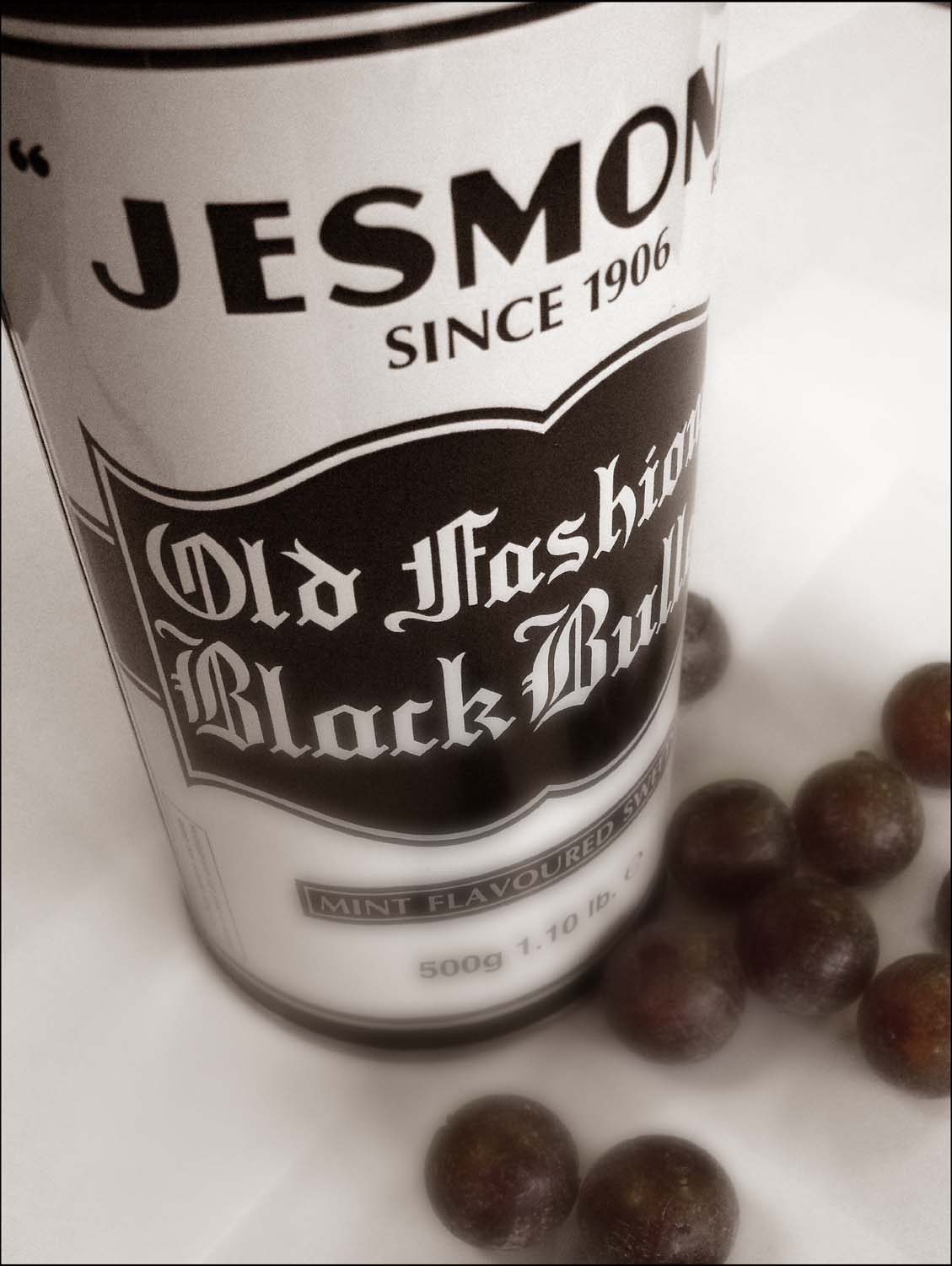 Black,Bullets,Jesmona,Jesmond,Newcastle,peppermint,sweets,confectionary,tin,old,1906,balls,365days,toffees,toffee,confection,candy,uncle,joe,joes,mint,500g,flavour,flavoured,B/W,white,mono,monochrome,stillife,stilllife,still,life,hotpix!