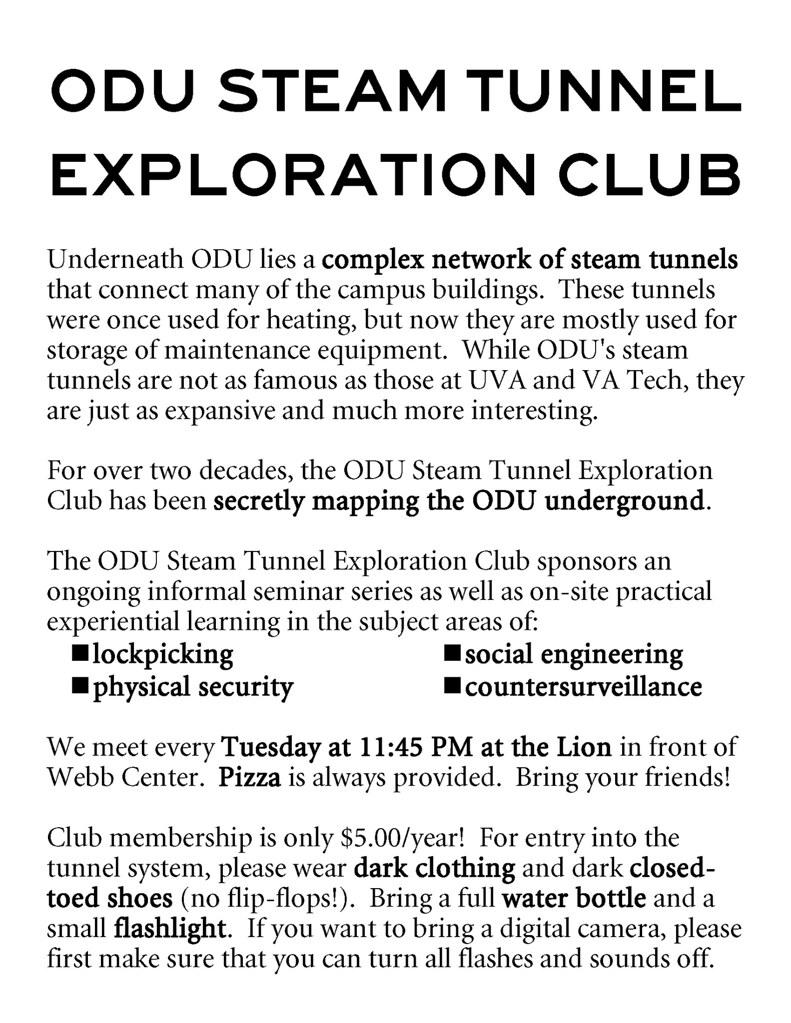 ODU Steam Tunnel Exploration Club Flyer | Flyer publicizing