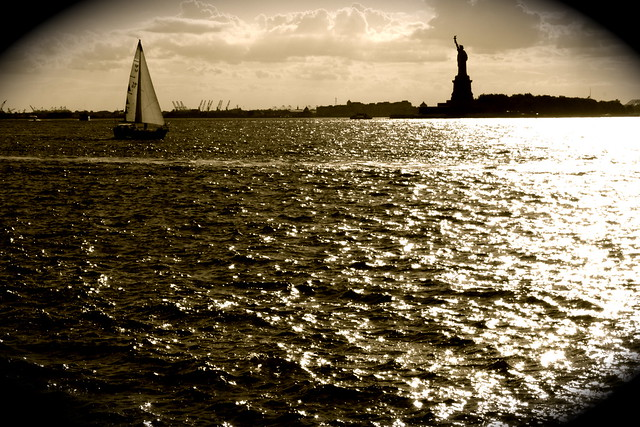new york city black whilte water statue of liberty