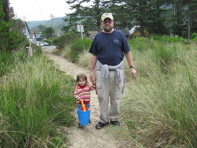 Zoe Walking to the Beach with Grandpa
