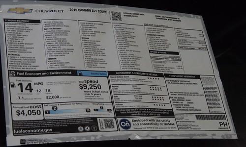 2015 Chevrolet Camaro ZL1 Invoice Photo