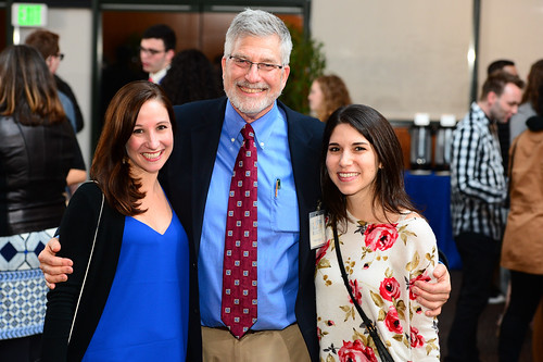 Dr. Gershon with former students at the Directors Guild of America reception   by hofstrauniversity