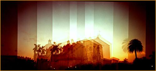 sunset sky church holga florida miami toycamera palmtree distillery coralgables multiexposures churchofthelittleflower microclics rolleidigibase200 n23p