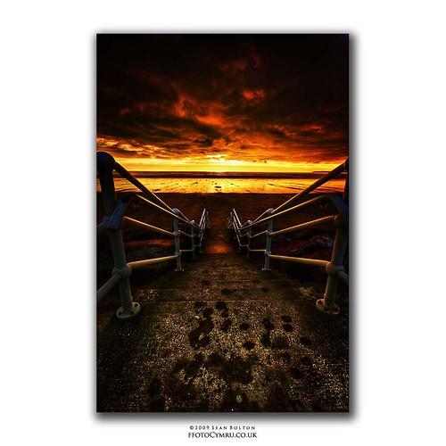 sunset beach wales fire coast sand cymru steps coastal coastline aberavon porttalbot seanbolton ffotocymrucouk