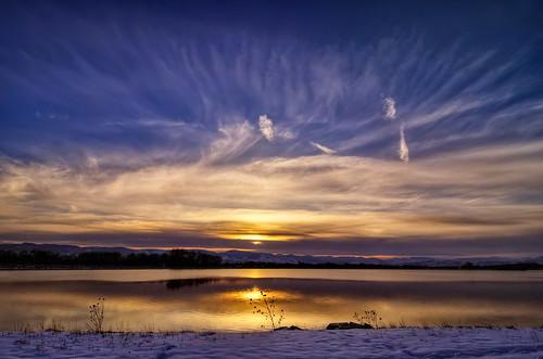 blue winter sunset sky orange lake snow nature clouds season landscape nikon bravo colorado fort dusk fortcollins co handheld collins 2009 hdr larimer d300 catchycolorsblue clff terrylake tokina1116