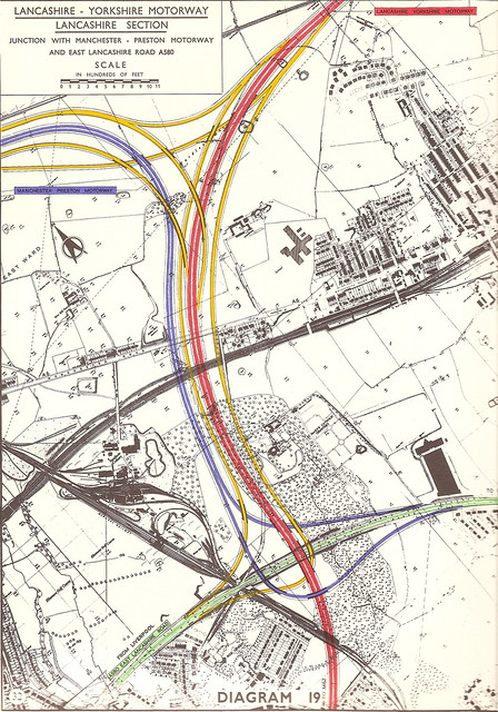 Lancashire - Yorkshire Motorway, M62 now M60/M61 - plan for junction with A580 - c1960