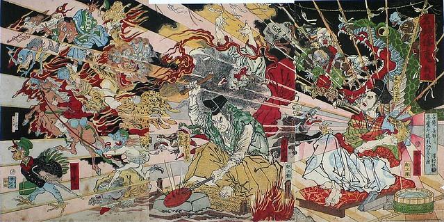 河鍋暁斎「名鏡倭魂 新板」(明治時代)