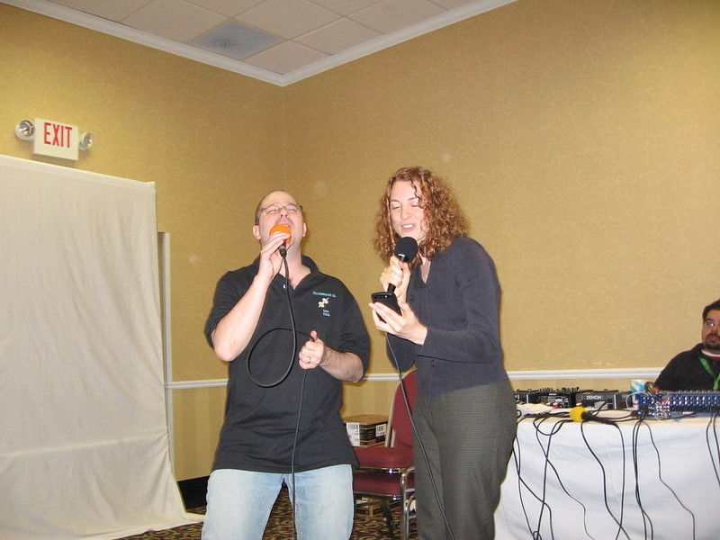 John Scalzi and Kaza Kingsley singing Sledgehammer