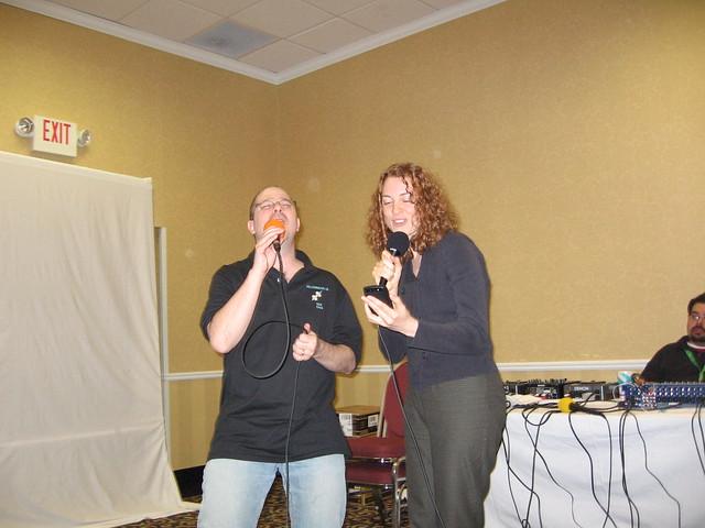 John Scalzi and Kaza Kingsley singing Sledgehammer