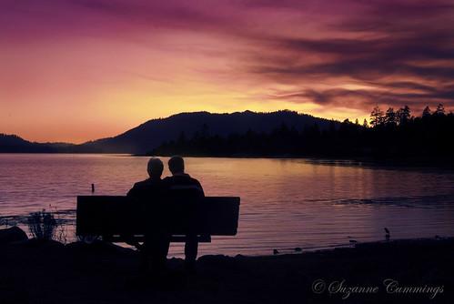 trees sunset lake mountains silhouette clouds bench nikon couple d80 bigbearlakecalifornia dragondaggerphoto dragondaggeraward magicunicornverybest