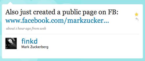 Twitter / Mark Zuckerberg: Also just created a public ...   by factoryjoe