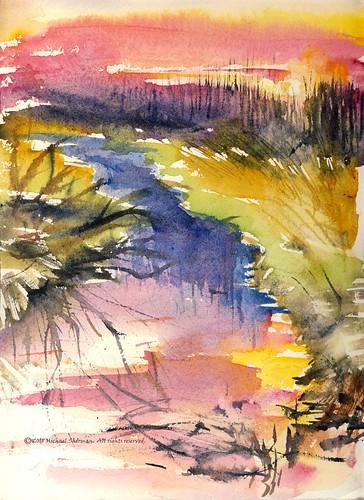 sunset art water watercolor painting landscape midwest ditch michigan channel mtpleasant latewinter pleinair millpondpark michigander regionalism mikesherman kunstplatzlinternational mtpleasantparksandrecreation
