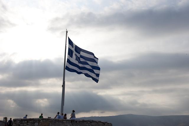 Greek Flag on top of the Acropolis, Athens, Greece