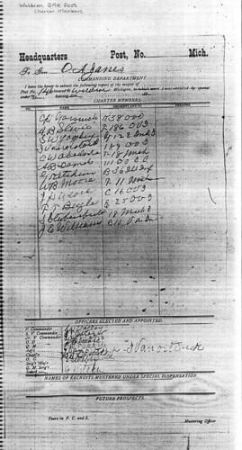 Waldron, Michigan Grand Army of the Republic roster