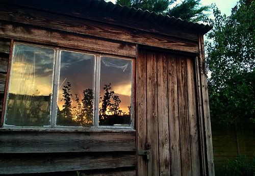 sunset reflection june garden shed oxfordshire 2015