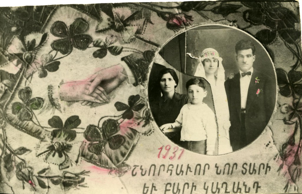 Photo postcard with Armenian holiday greeting, Damascus, Syria, 1931