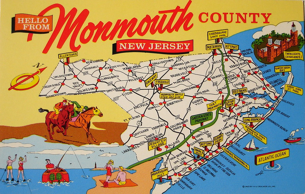 Monmouth County NJ map postcard | Back text: